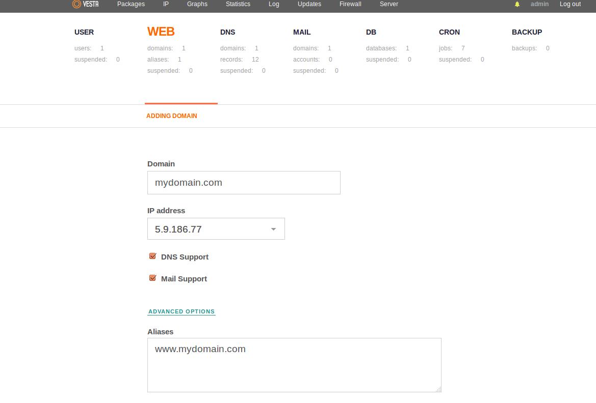 Add domain in vesta cp